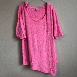 LIVI Active Pink Hoodie Short Sleeve Top